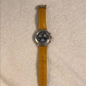 Swatch Watch with yellow band and blue face